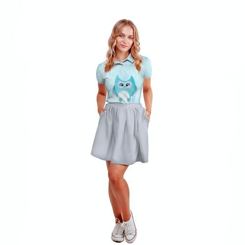 Женская рубашка поло 3D Зимняя птичка Фото 01