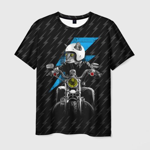 Мужская футболка 3D  Фото 01, Кот байкер