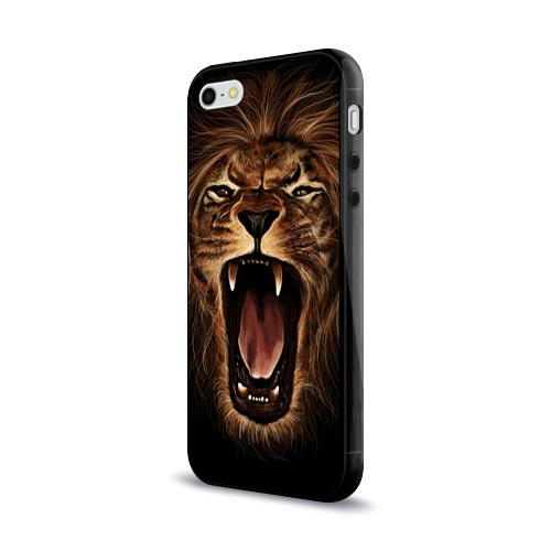 Чехол для Apple iPhone 5/5S силиконовый глянцевый Львиный рык Фото 01