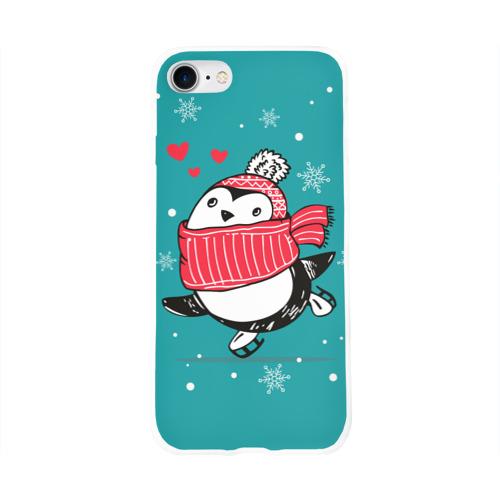 Чехол для Apple iPhone 8 силиконовый глянцевый  Фото 01, Пингвинчик на коньках