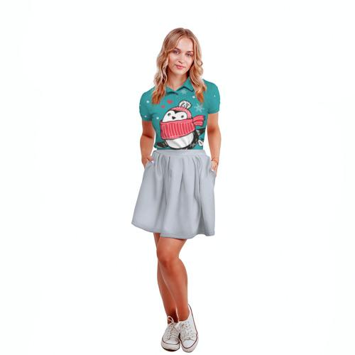 Женская рубашка поло 3D  Фото 04, Пингвинчик на коньках