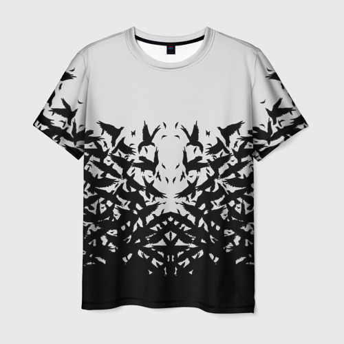 Мужская футболка 3D Птичий вихрь
