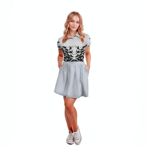 Женская рубашка поло 3D  Фото 04, Птичий вихрь