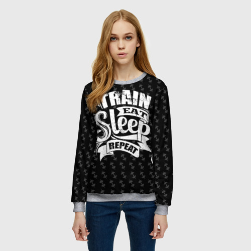 Женский свитшот 3D Train Eat Sleep Repeat Фото 01