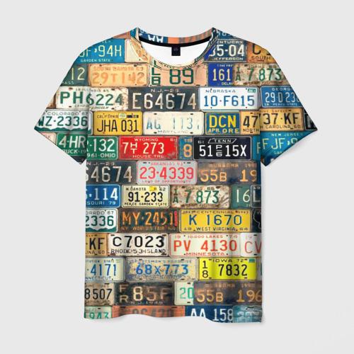 Мужская футболка 3D Автомобильные номера мира L