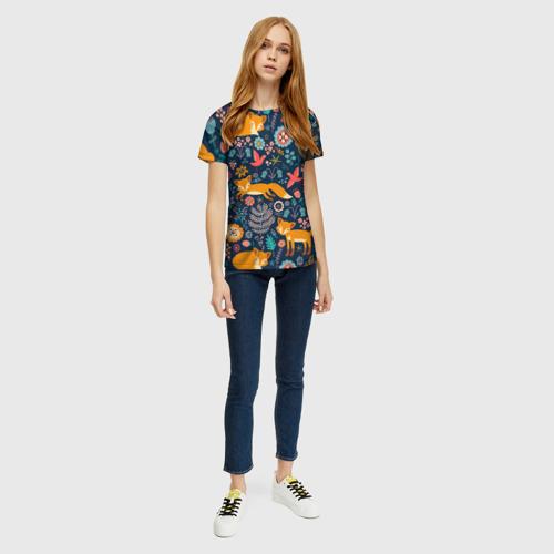 Женская футболка 3D Лисички паттерн Фото 01