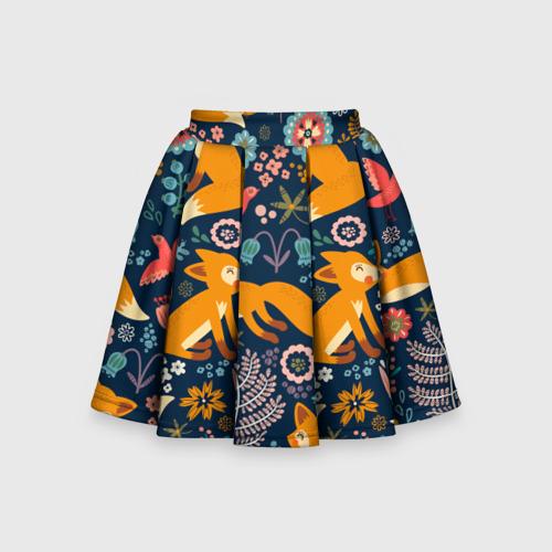 Детская юбка-солнце 3D Лисички паттерн