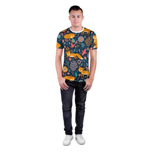 Мужская футболка 3D спортивная  Фото 04, Лисички паттерн