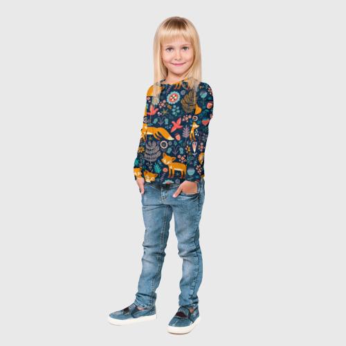 Детский лонгслив 3D Лисички паттерн Фото 01