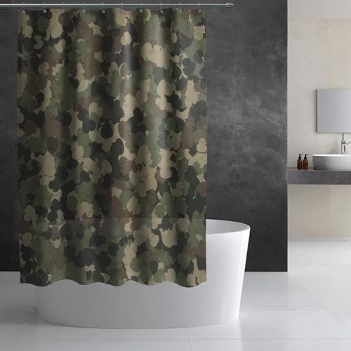 Штора 3D для ванной  Фото 03, Камуфляж с резиновыми уточками