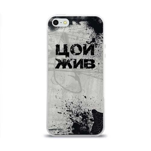 Чехол для Apple iPhone 5/5S силиконовый глянцевый  Фото 01, Стена Цоя