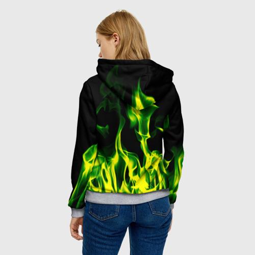 Женская толстовка 3D Зелёный огонь Фото 01