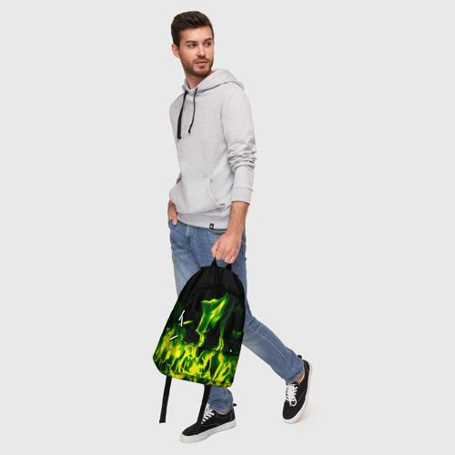 Рюкзак 3D Зелёный огонь Фото 01
