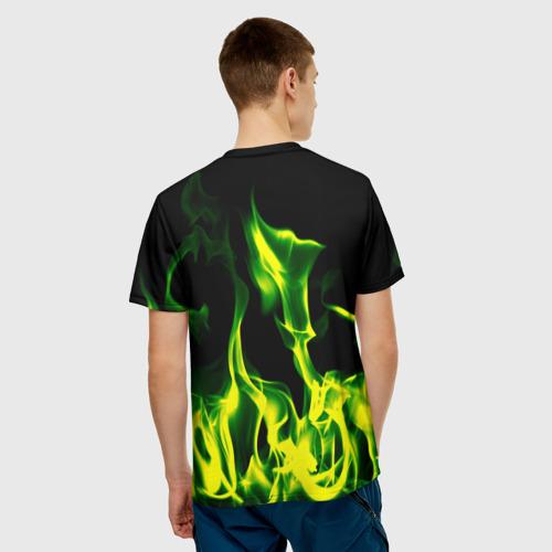 Мужская футболка 3D  Фото 02, Зелёный огонь
