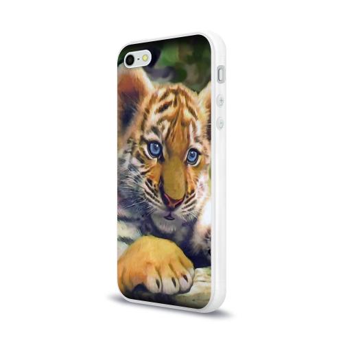 Чехол для Apple iPhone 5/5S силиконовый глянцевый Тигренок Фото 01