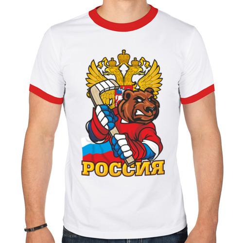 Мужская футболка рингер  Фото 01, Хоккей! Россия вперед!