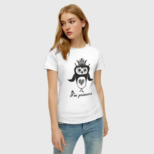 Женская футболка хлопок Сова. Я принцесса! Фото 01