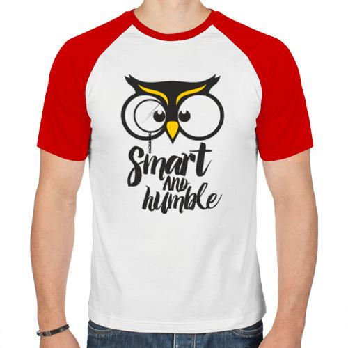 Мужская футболка реглан  Фото 01, Owl. Smart and humble