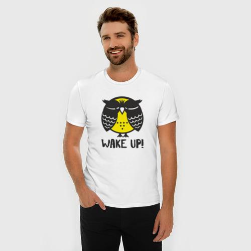 Мужская футболка премиум  Фото 03, Owl. Wake up!