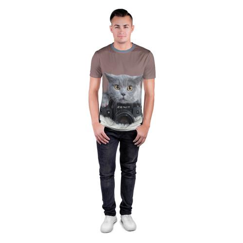 Мужская футболка 3D спортивная  Фото 04, Котик фотограф