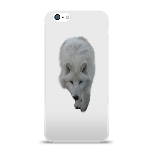 Чехол для Apple iPhone 6 силиконовый глянцевый  Фото 01, Белый волк