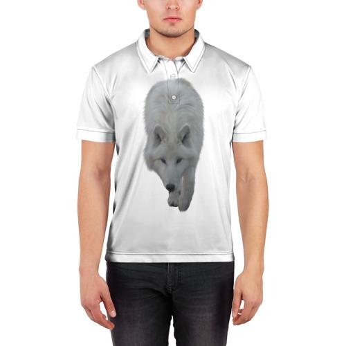 Мужская рубашка поло 3D  Фото 03, Белый волк