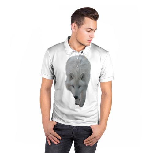 Мужская рубашка поло 3D  Фото 05, Белый волк