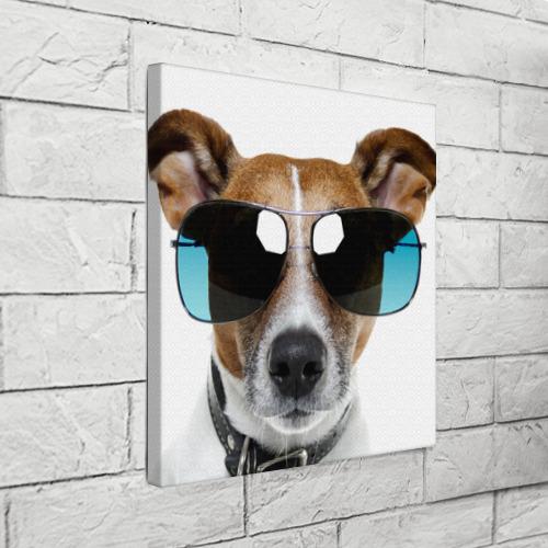 Холст квадратный  Фото 03, Джек Рассел в очках