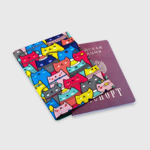 Обложка для паспорта матовая кожа  Фото 03, Котики
