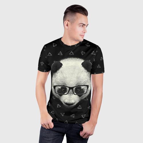 Мужская футболка 3D спортивная  Фото 03, Умная панда