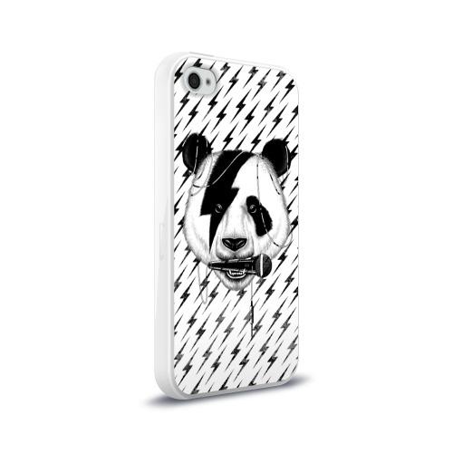 Чехол для Apple iPhone 4/4S силиконовый глянцевый  Фото 02, Панда вокалист