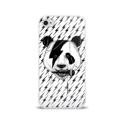 Чехол для Apple iPhone 4/4S силиконовый глянцевый  Фото 01, Панда вокалист
