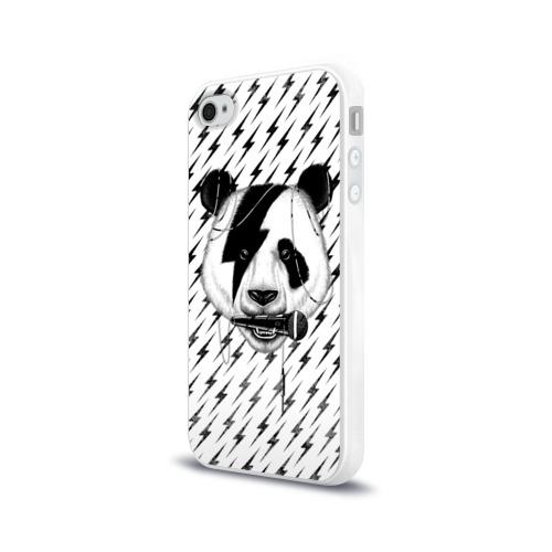 Чехол для Apple iPhone 4/4S силиконовый глянцевый  Фото 03, Панда вокалист