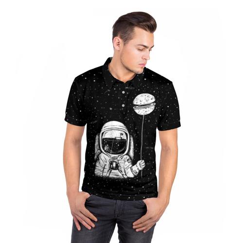Мужская рубашка поло 3D  Фото 05, Астронавт с шариком
