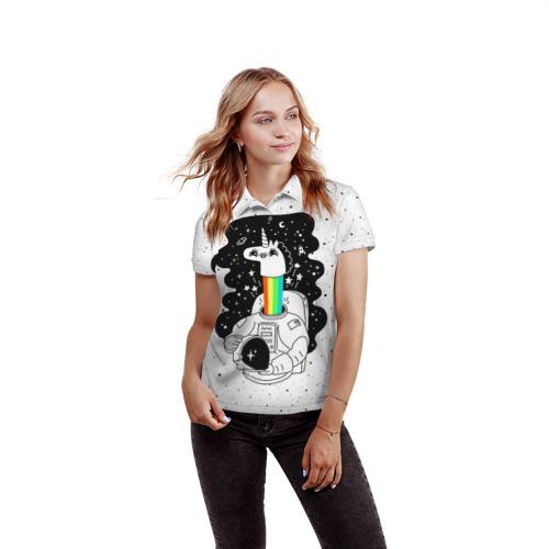 Женская рубашка поло 3D Единорог астронавт Фото 01