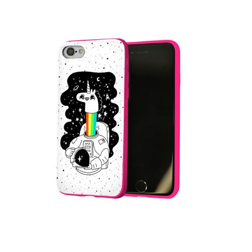 Чехол для Apple iPhone 8 силиконовый глянцевый Единорог астронавт Фото 01