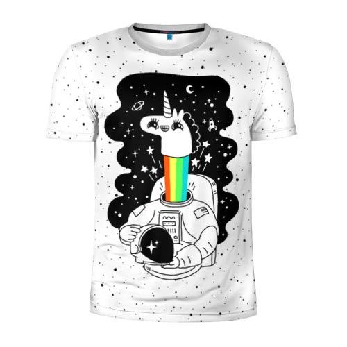 Мужская футболка 3D спортивная Единорог астронавт Фото 01