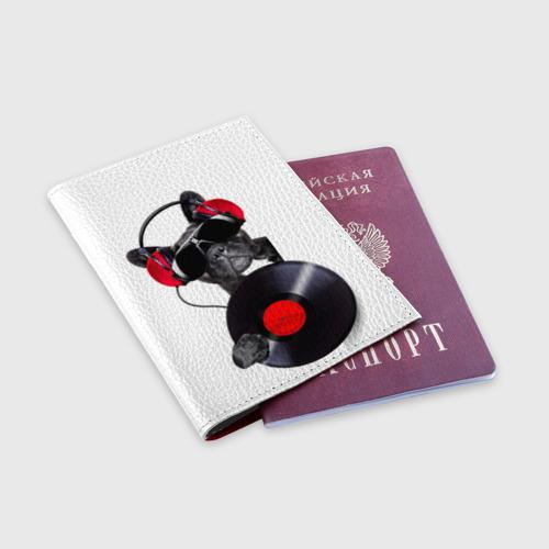 Обложка для паспорта матовая кожа DJ бульдог Фото 01