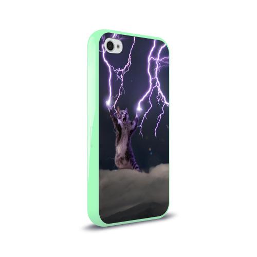 Чехол для Apple iPhone 4/4S силиконовый глянцевый Грозовой кошак Фото 01