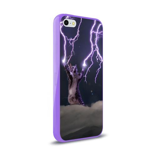Чехол для Apple iPhone 5/5S силиконовый глянцевый Грозовой кошак Фото 01