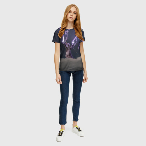 Женская футболка 3D Грозовой кошак Фото 01