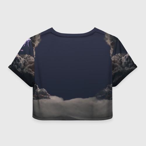 Женская футболка Crop-top 3D Грозовой кошак Фото 01