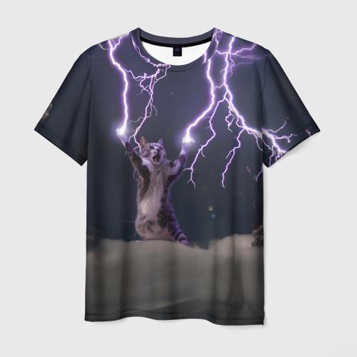 Мужская футболка 3D 'Грозовой кошак'