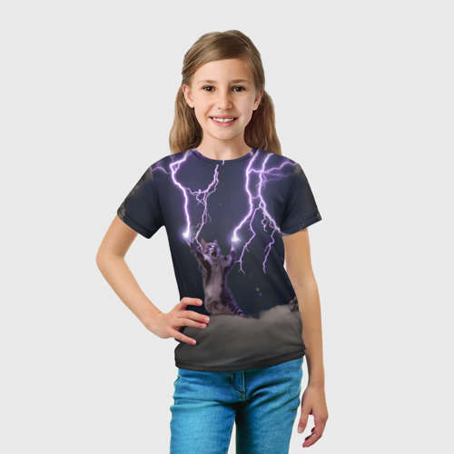 Детская футболка 3D Грозовой кошак