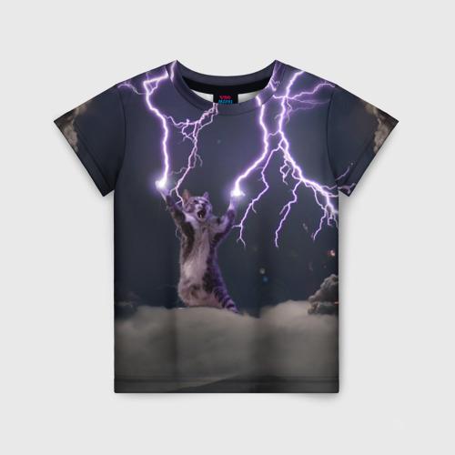 Детская футболка 3D Грозовой кошак Фото 01