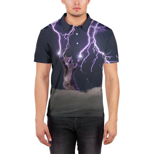 Мужская рубашка поло 3D Грозовой кошак