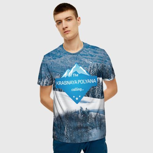 Мужская футболка 3D Красная поляна Фото 01