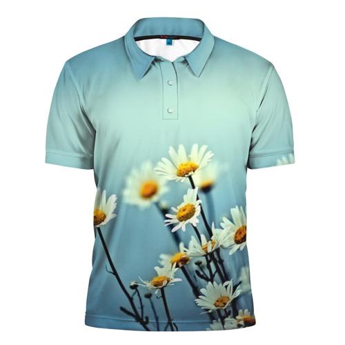 Мужская рубашка поло 3D  Фото 01, Ромашки
