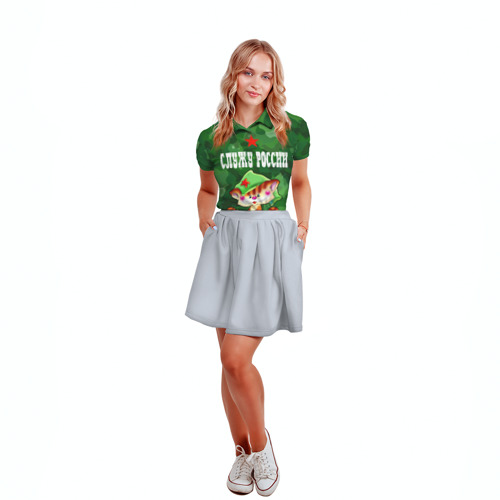 Женская рубашка поло 3D  Фото 04, Служу России, кот на пулемете