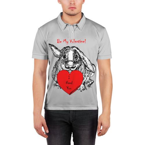 Мужская рубашка поло 3D  Фото 03, Be my Valentine